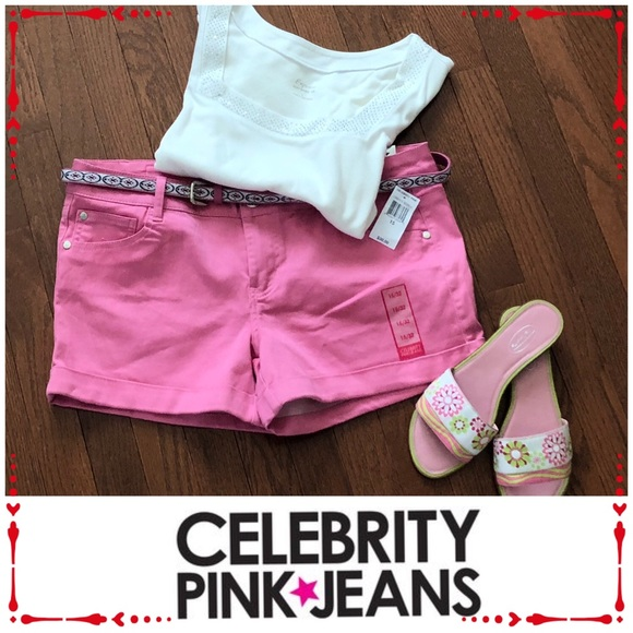 "Celebrity Pink Pants - 🆕🌟NWT ""CELEBRITY PINK""  CUFFED JEAN SHORTS"
